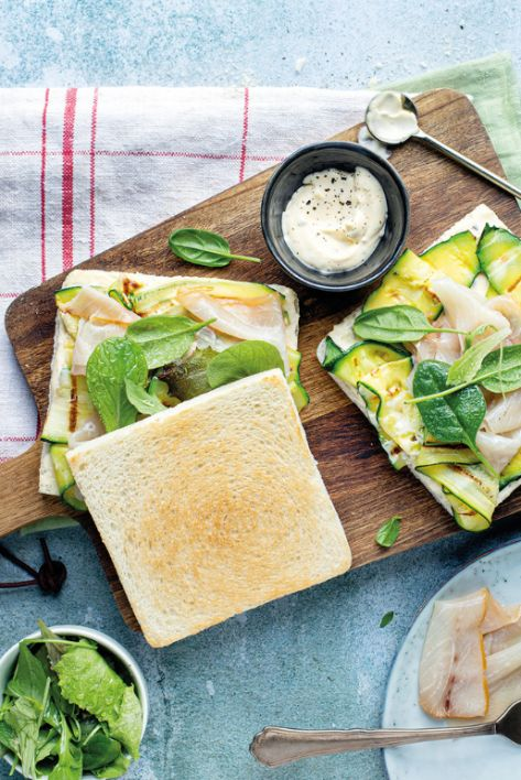 Toastie with smoked sword fish and courgettes