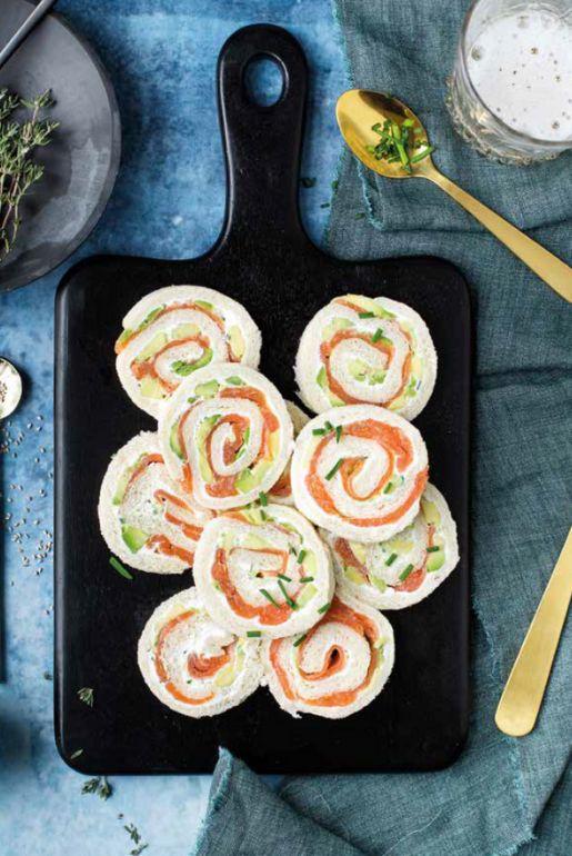 Fresh cheese, salmon and Avocado pinwheels