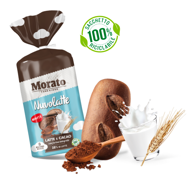 Nuvolatte milk and cocoa with wholemeal